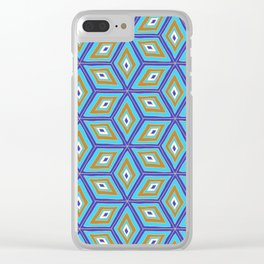 Blue and Gold Tilted Cubes Pattern Clear iPhone Case