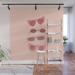 Pink sunglasses illustration Wall Mural