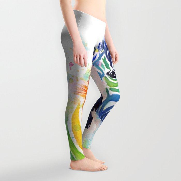 Zebra Rainbow Watercolor Whimsical Animal Leggings