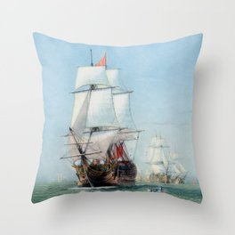 First Journey Of The HMS Victory Throw Pillow