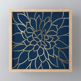 Floral Prints, Line Art, Navy Blue and Gold Framed Mini Art Print