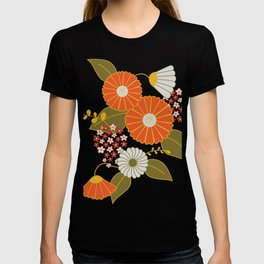 Maroon, Orange, Yellow and Red Retro Flowers T-shirt