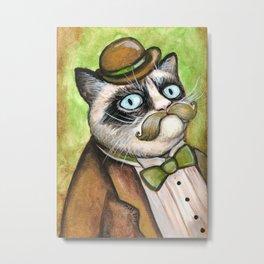 Dapper Grumpy Cat - Cats with Moustaches Metal Print