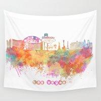las vegas Wall Tapestries featuring Las Vegas Nevada Skyline  by jbjart