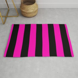Bright Hot Neon Pink and Black Circus Tent Stripes Rug