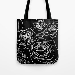 Feminine and Romantic Rose Pattern Line Work Illustration on Black Tote Bag