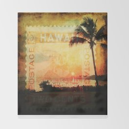 Hawaii, Sunset, Typograph, Postage Stamp Throw Blanket