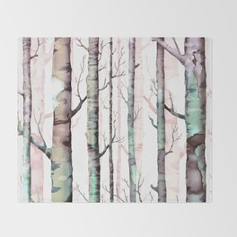 Birch tree Forest Throw Blanket