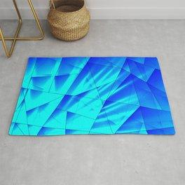 Bright sunshine on celestial and blue triangles of irregular shape. Rug