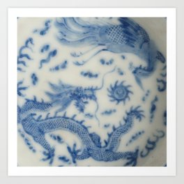 Damask vintage Monaco blue white girly ginger jar floral antique chinese dragon chinoiserie china Art Print