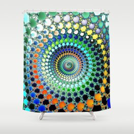 Fractal Spiral Trippy Art Print Shower Curtain