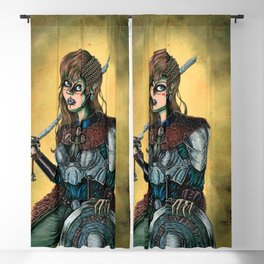 Portrait of Shieldmaiden Blackout Curtain