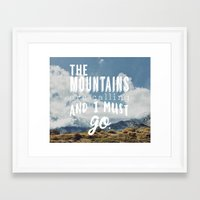 the mountains are calling Framed Art Prints featuring The Mountains are calling by Hillary Murphy