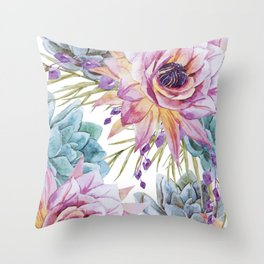 FLOWERS WATERCOLOR 19 Throw Pillow