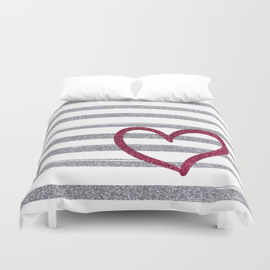 Red Heart on Shiny Silver Stripes Duvet Cover