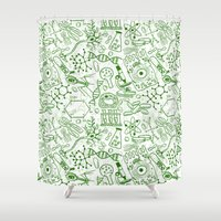 school Shower Curtains featuring School Chemical pattern #1 by Juliana RW