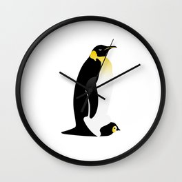 Penguin parent with his baby Wall Clock