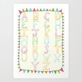 Luchador Alphabet Art Print