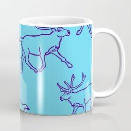 Reindeer on Blue Coffee Mug