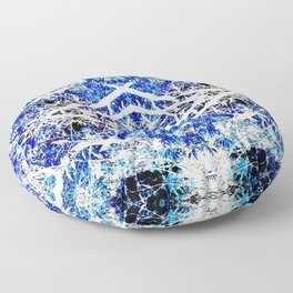 Distorted Nature in Blue Floor Pillow