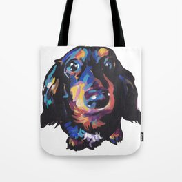 Dachshund Dog bright colorful Doxie Portrait Pop Art Painting by LEA Tote Bag