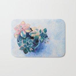 Pastel Succulents - an oil painting on canvas Bath Mat