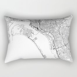 San Diego White Map Rectangular Pillow