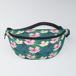 Tropical floral pattern green teal pik yellow Fanny Pack