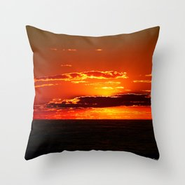 Sunset with Silver lined Clouds Throw Pillow