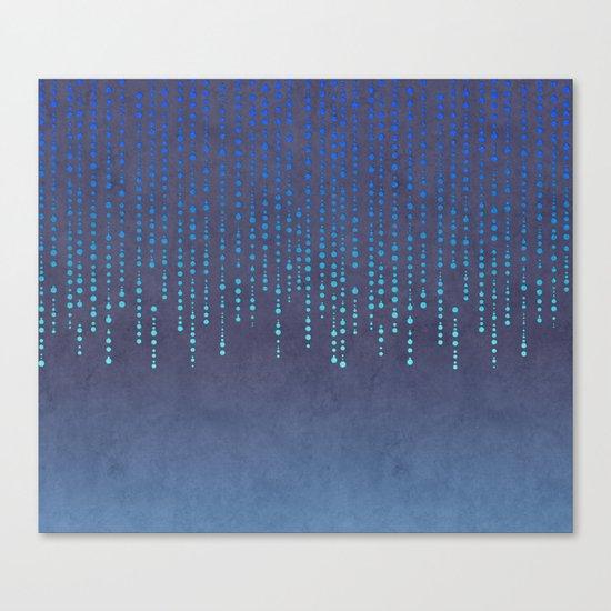Dark Glamour blue faux glitter rhinestones Canvas Print