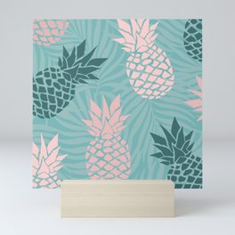 Tropical Pineapple and Palm Leaf Pattern, Teal and Pink Mini Art Print