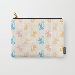 Vintage chic pink blue yellow lions damask pattern Carry-All Pouch