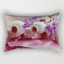 Opium poppy capsule Lavender flower still life Rectangular Pillow