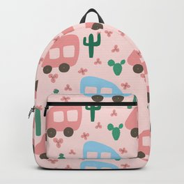 Camper Vans in Blue and Pink with Green Cactus and Pink Flowers Backpack