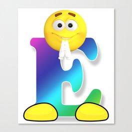 Letter E Alphabet Smiley Monogram Face Emoji Shirt for Men Women Kids Canvas Print