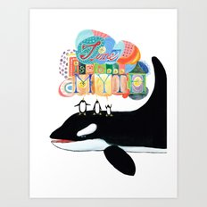 TIME IS A MYTH, penguins singing on a whale Art Print
