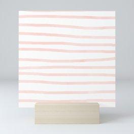 Seashell Pink Watercolor Stripes Mini Art Print