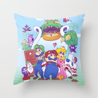 mario bros Throw Pillows featuring Mario Bros. 2 nostalgia  by Damon Fernandez