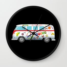 Peace and love road trip Wall Clock