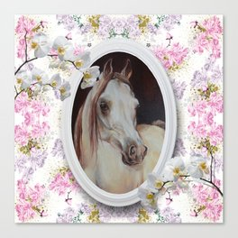 White orchids & Arabian mare Canvas Print