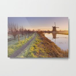 Traditional Dutch windmill near Abcoude, The Netherlands at sunrise Metal Print