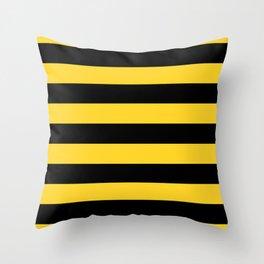 Yellow and Black Honey Bee Horizontal Cabana Tent Stripes Throw Pillow
