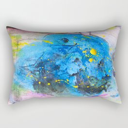Rustic artistic abstract blue yellow pink watercolor brushstrokes Rectangular Pillow