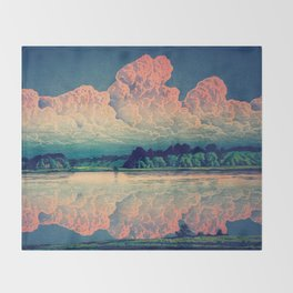 Admiring the Clouds in Kono Throw Blanket