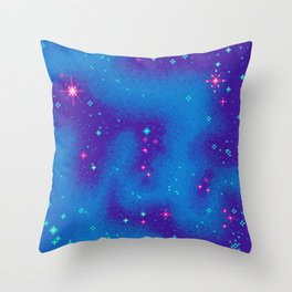 Indigo Nebula (8bit) Throw Pillow