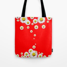 CHINESE RED WHITE DAISIES MODERN ART Tote Bag