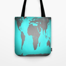 World MAp Turquoise Aqua & Gray Tote Bag