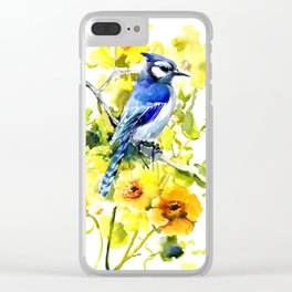 BLue Jay and Yellow Flowers Clear iPhone Case