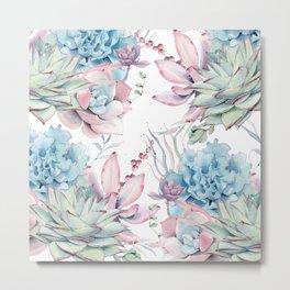 Pretty Pastel Succulents Garden 2 Metal Print