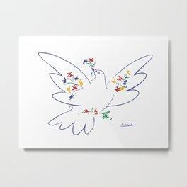 Picasso dove of peace minimal line art, modern minimal home decor, anti war art, world war art Metal Print